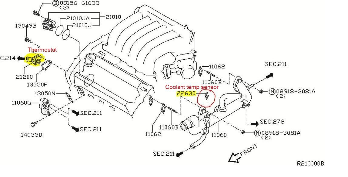P0125 2008 Nissan Maxima Engine Coolant Temperature Sensor
