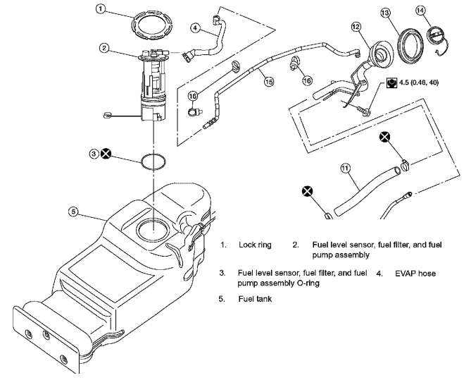 P0463 2008 NISSAN PATHFINDER Fuel Level Sensor Circuit