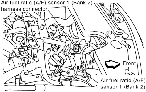 Air fuel ratio (A/F) sensor 1 heater Bank 2 were is this