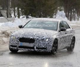 2016 Jaguar XE front three quarters spyshot
