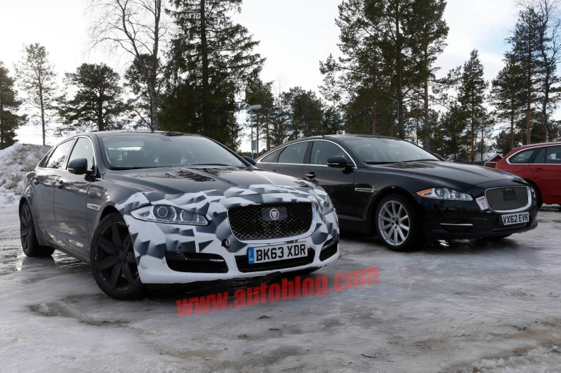 Jaguar XJ facelift spy shot front three quarters