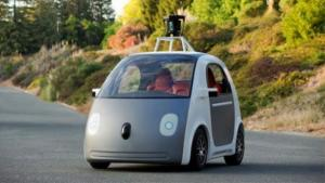 Google car prototype on road