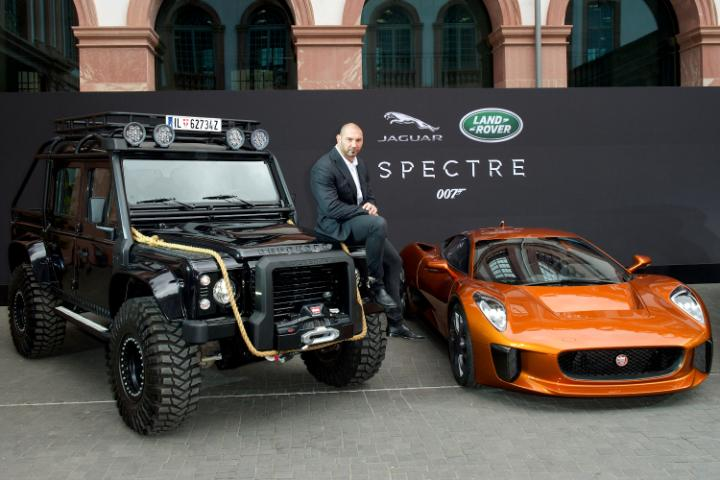 Dave Bautista with Spectre Jaguar and Land Rover-large