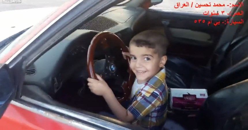 3 Year old boy doing donuts in BMW