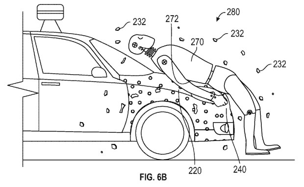 Google Patent sticky car hood