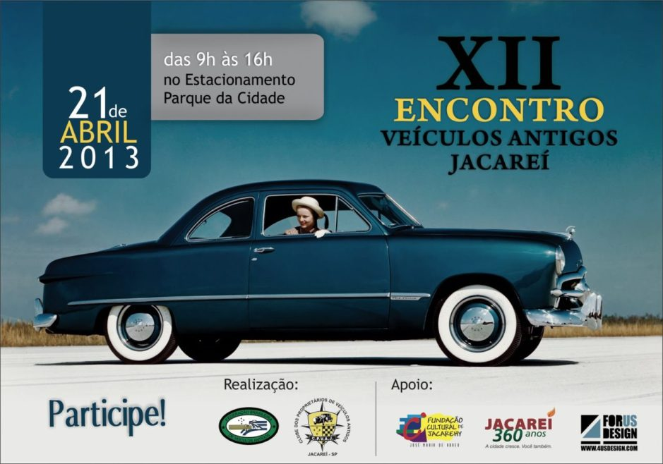 Encontro de Veículos Antigos de Jacareí SP - Convite XII - 2013