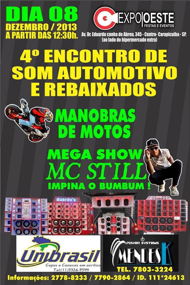 4º Encontro de Som Automotivo e Rebaixados de Carapicuíba 2013 - Convite