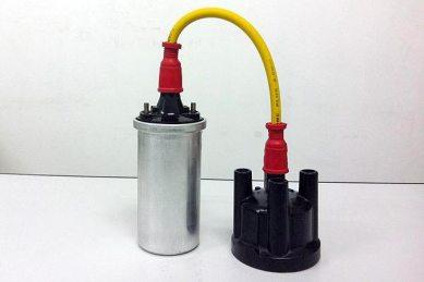 Exemplo do uso do Cabo de Vela em uma bobina (prata) até o distribuidor (preto)