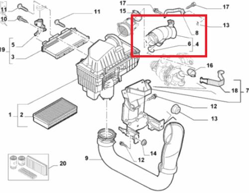 Przewód dolotowy przepływomierz-turbo Fiat Ulysse
