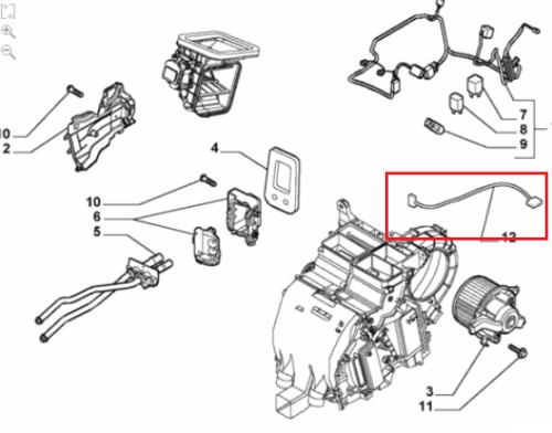 Kabel nagrzewnicy / klimatyzatora Fiat Stilo