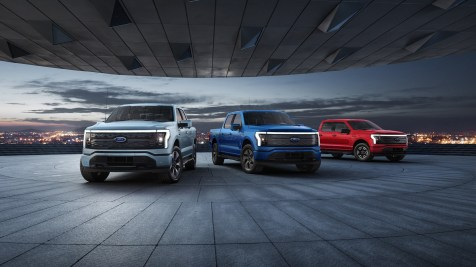 2022 Ford F-150 Lightning Platinum, Lariat, XLT. Pre-production model with available features shown. Available starting spring 2022.