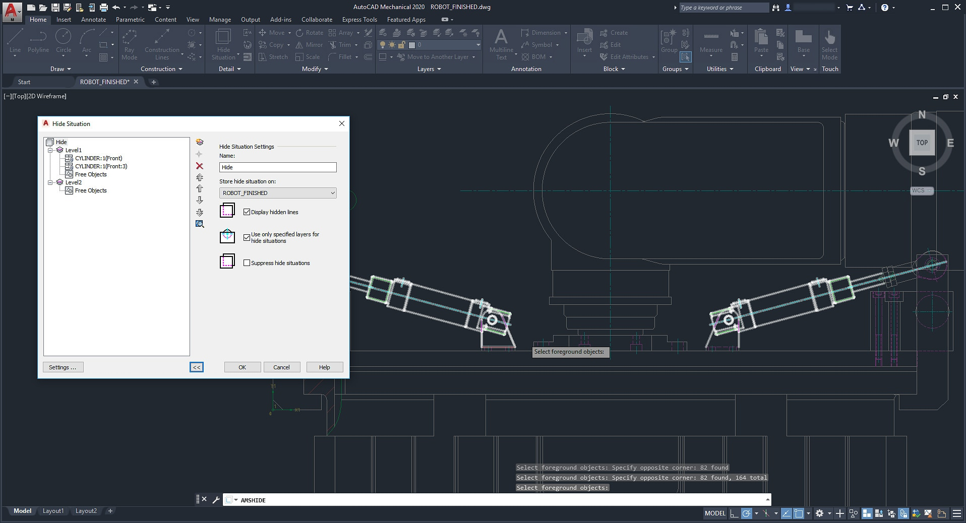 hight resolution of the autocad mechanical toolset automatically creates hidden lines when you specify which objects overlap the others