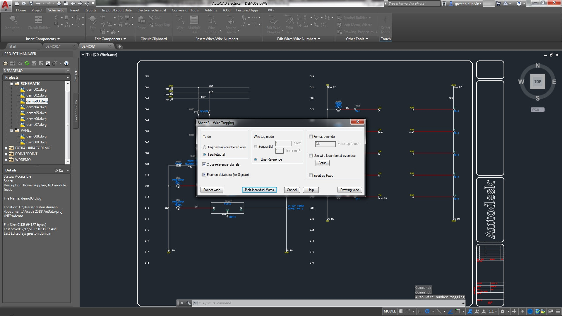 hight resolution of the autocad electrical toolset includes wire numbering and component tagging