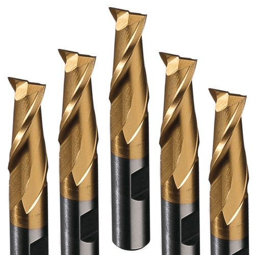 Flat 2 flute end mills with TiN coating.