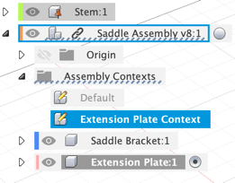 Image showing Fusion browser expanded to expose the assembly context folder nested in the external reference file.