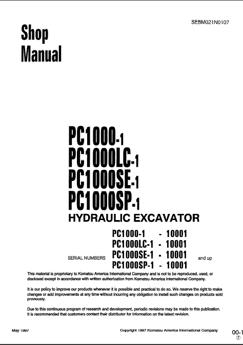Komatsu PC1000-1 Hydraulic Excavator Service Manual repair
