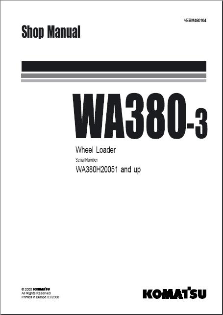 Komatsu WA380-3 Wheel Loader Workshop Service Manaul