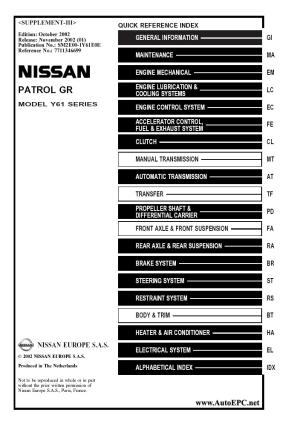 Nissan Patrol GR  Y61 series Service Manual repair manual Order & Download
