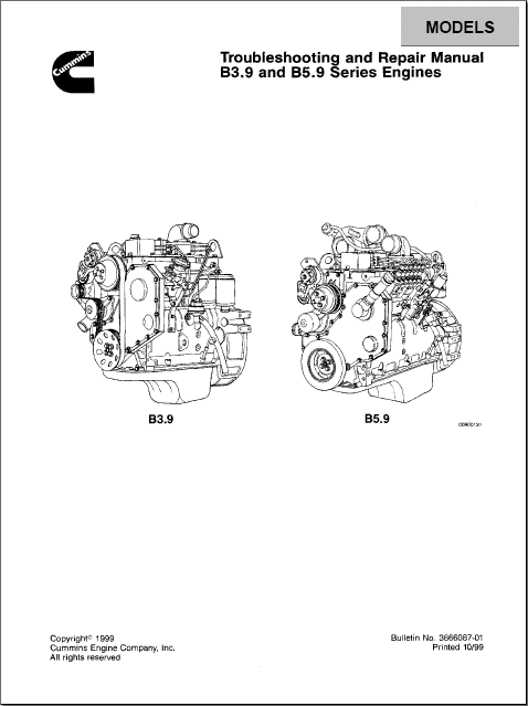 Cummins Engine B3.9 and B5.9 Series repair manual Order