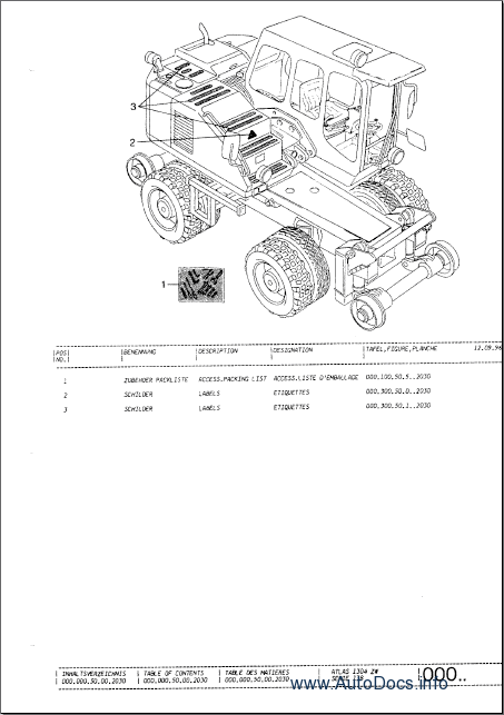 Atlas Excavators (TEREX) spare parts catalog, parts manual