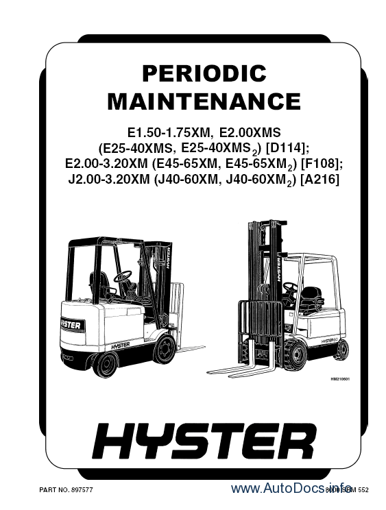 Hyster Class 1 Electric Motor Rider Trucks Repair Manuals