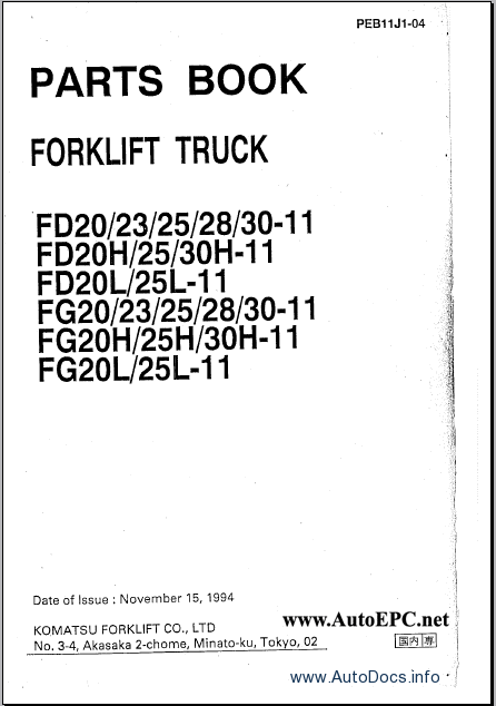 Komatsu ForkLift Truck electronic spare parts catalogue