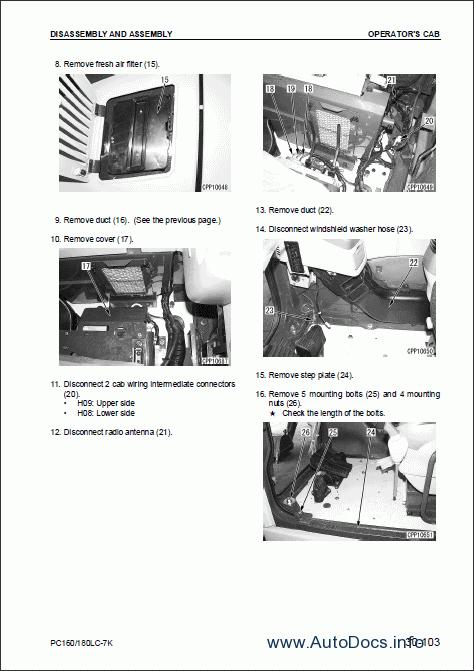 Komatsu Hydraulic Excavator PC160LC-7K, PC180LC-7K repair