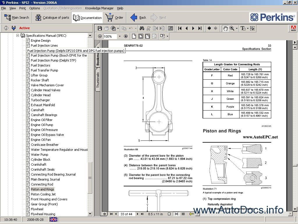 Perkins SPI2 2008 parts catalog repair manual Order & Download