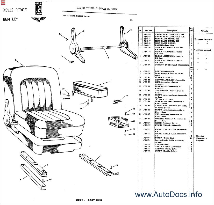 Rolls-Royce, Bentley 1965-1986 parts catalog Order & Download