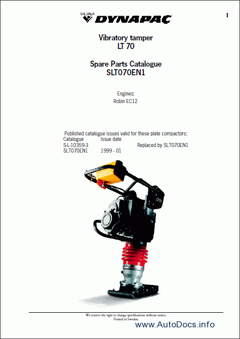 Dynapac spare parts catalogue, parts manuals, repair
