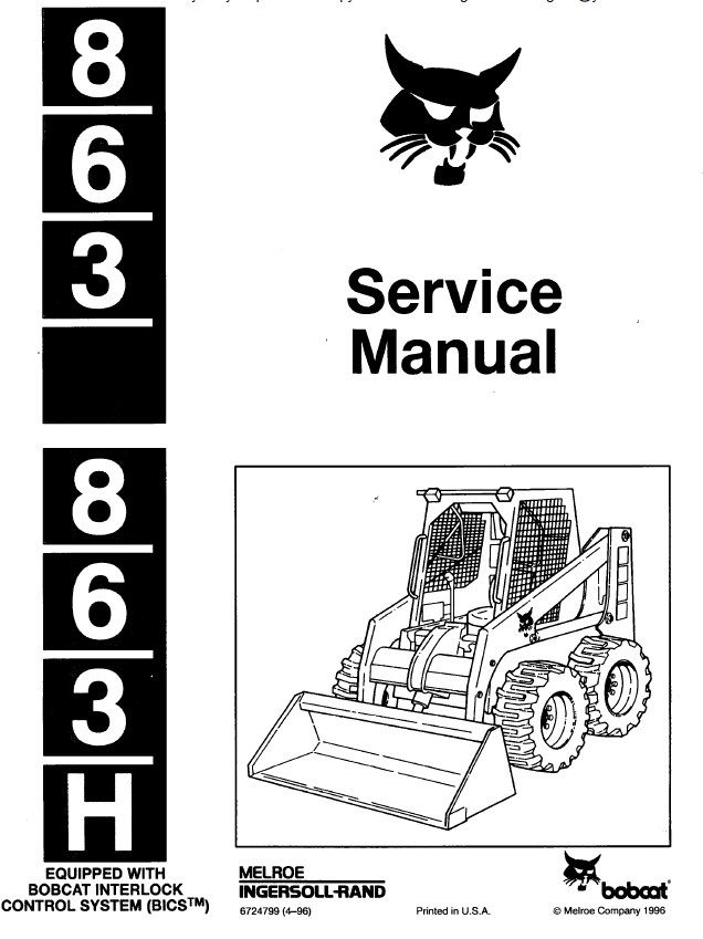 Bobcat 863 / 863H Skid Steer Service Manual PDF