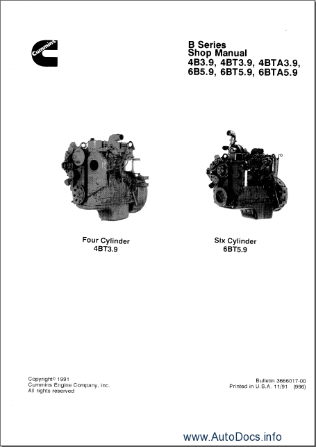 Cummins B3.9 and B5.9 Series Engines Order & Download
