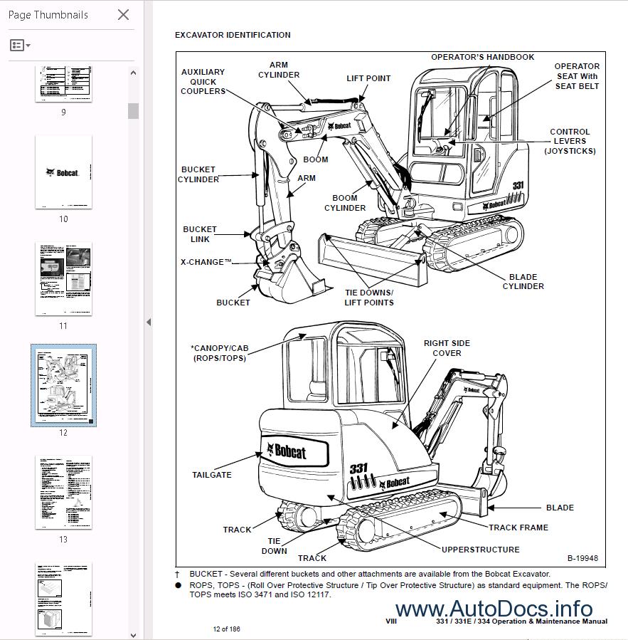 Bobcat 331/ 331E/ 334 Excavator Operation PDF Manual