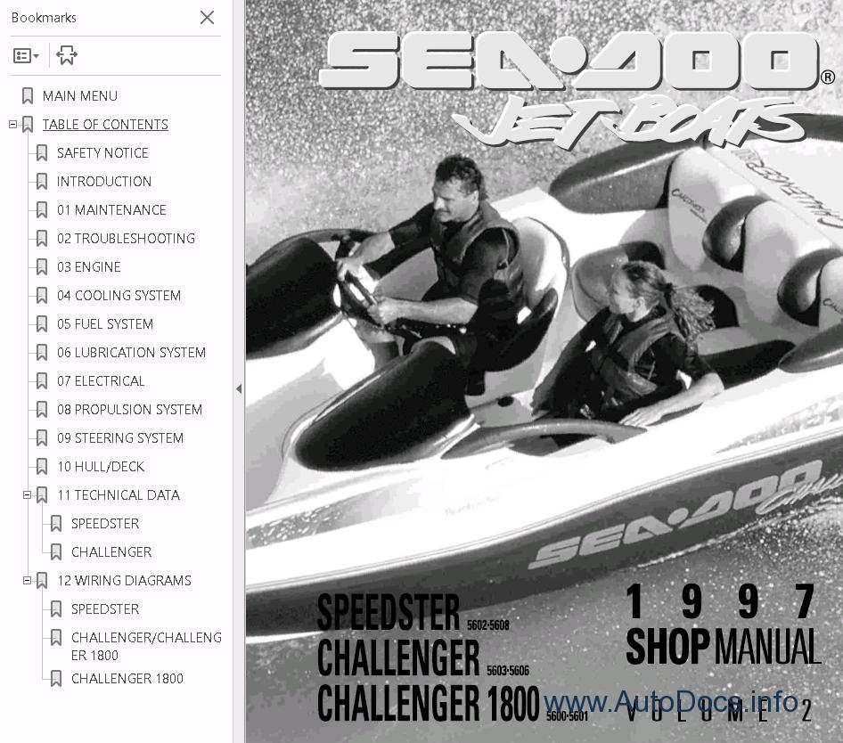hight resolution of  sea doo boat challenger 1800 repair manual 1997 sea doo challenger wiring diagram on sea