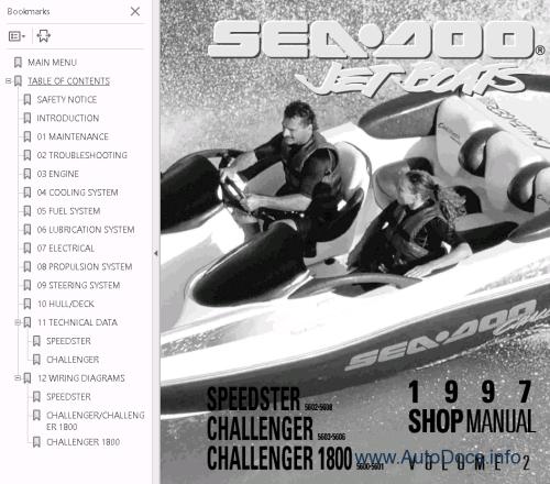 small resolution of  sea doo boat challenger 1800 repair manual 1997 sea doo challenger wiring diagram on sea