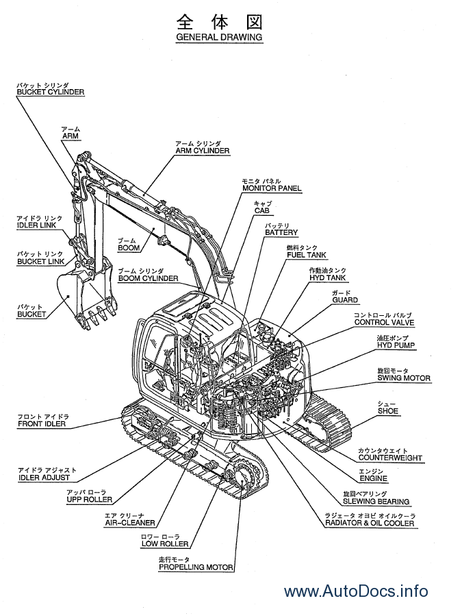 Kobelco SK70SR excavator and Isuzu diesel engine A4JB1