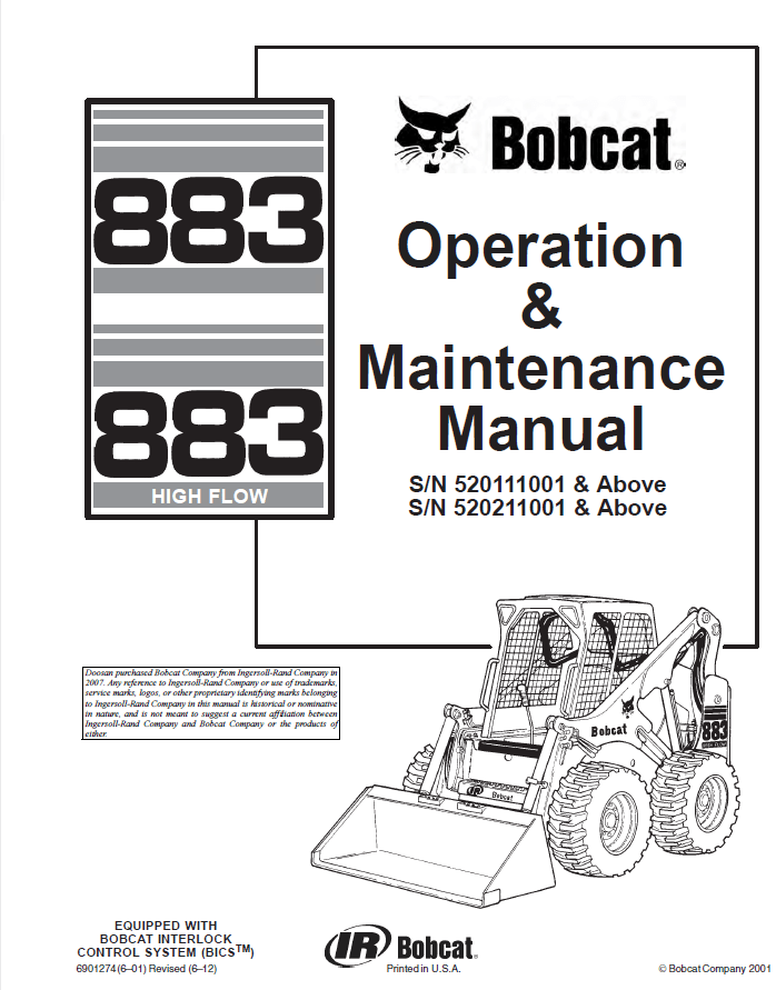 Bobcat 883 & 883H Operation and Maintenance PDF Manual