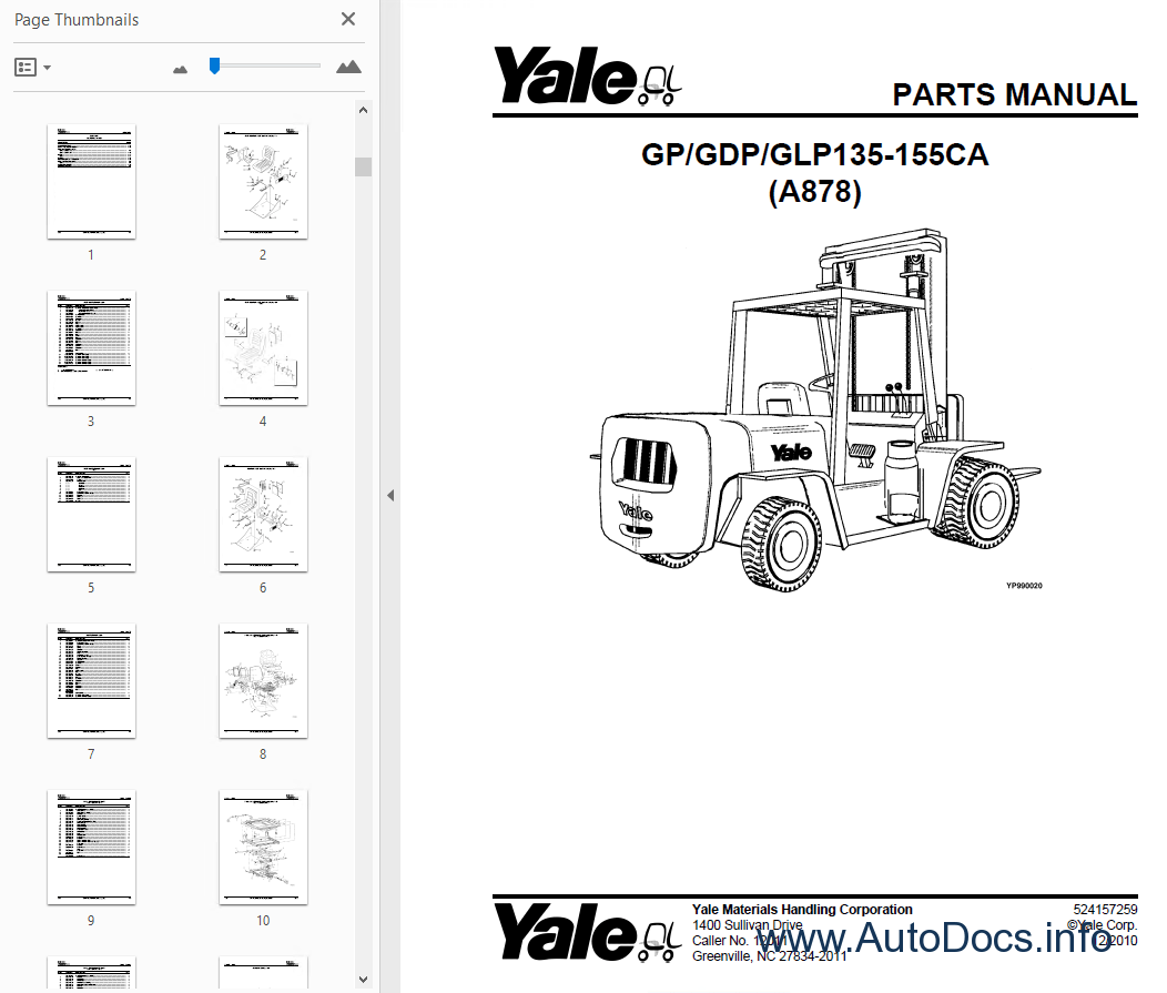 Yale Industrial Trucks For Usa Parts Manuals