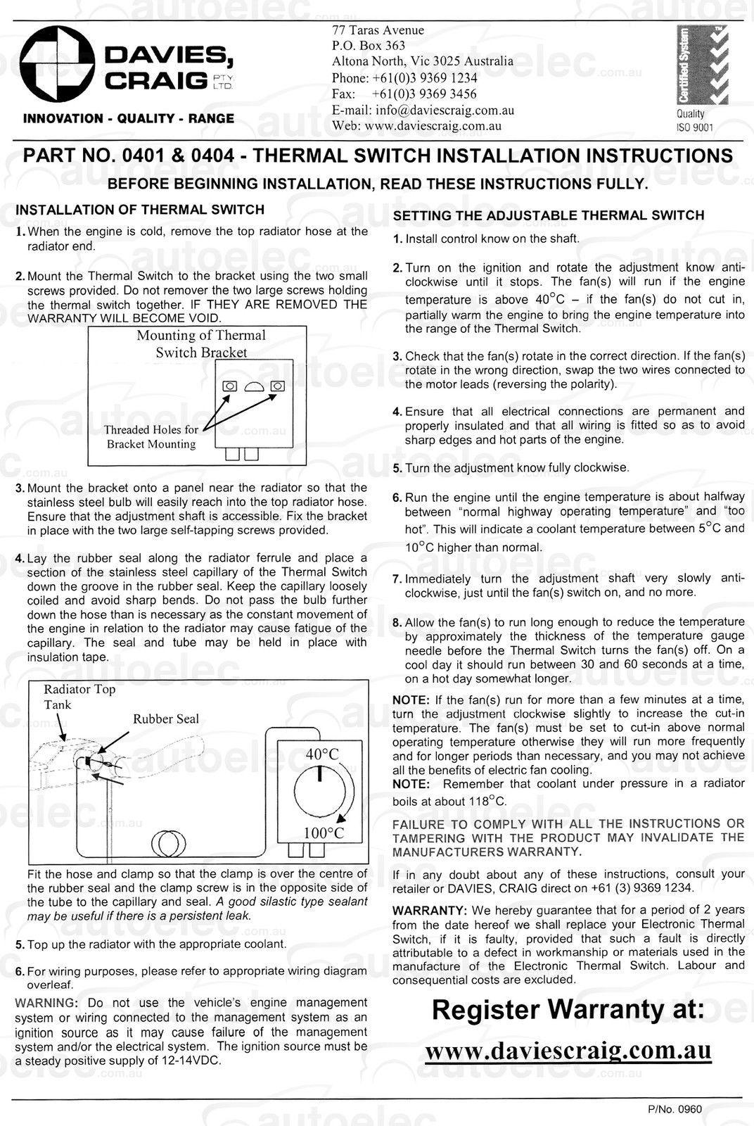 hight resolution of davies craig mechanical thermatic radiator fan
