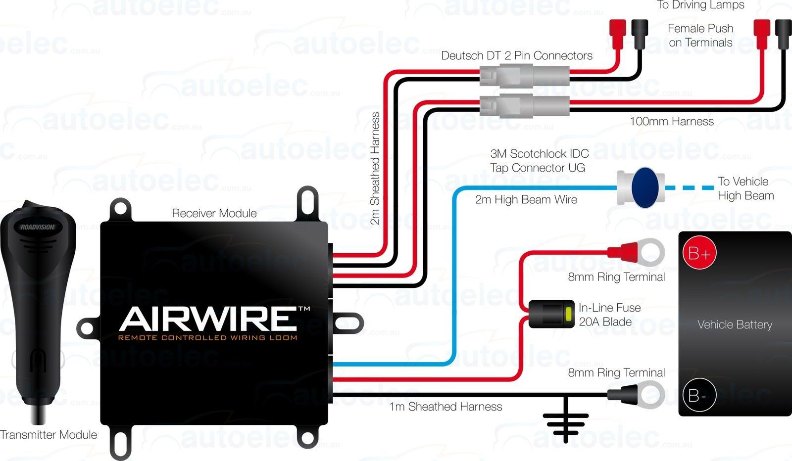 hight resolution of airwire remote control wiring kit harness driving lights