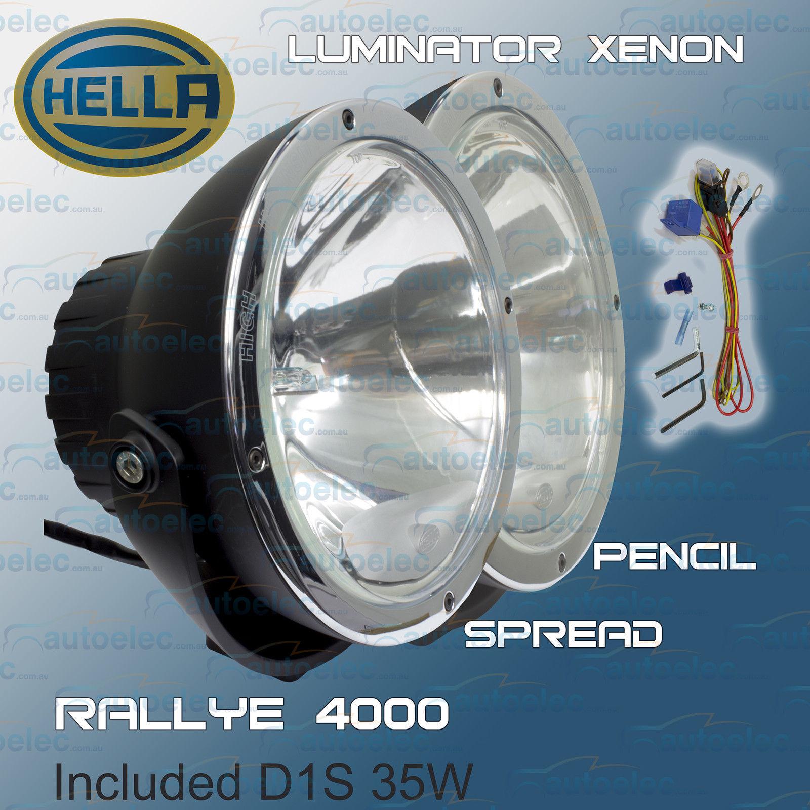 hight resolution of hella rallye 4000 12v luminator xenon hid 1387 pencil beam 1388 flood pair new