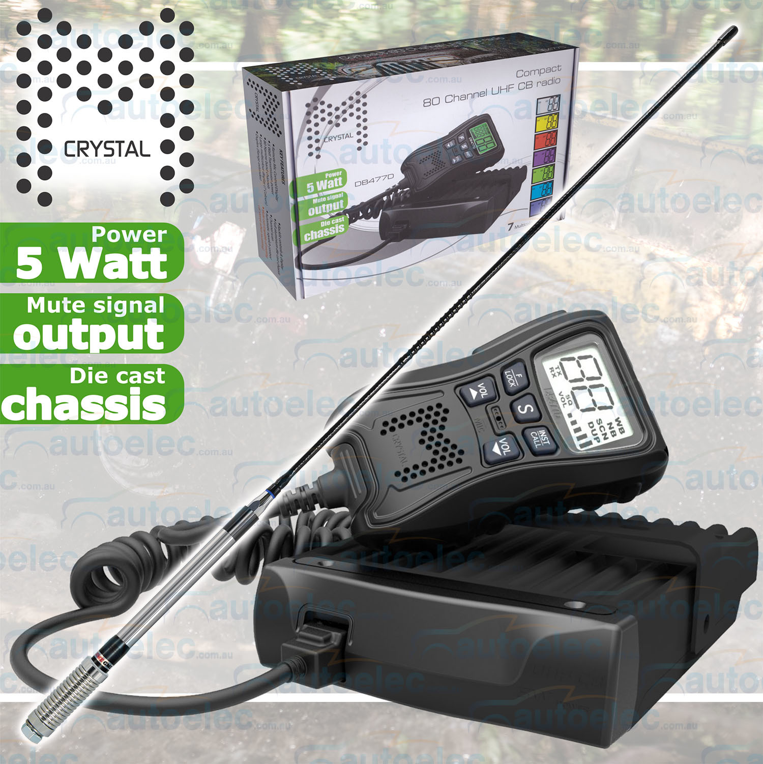hight resolution of details about crystal 5 watt db477d uhf cb radio 2way mobile remote display mic gme antenna