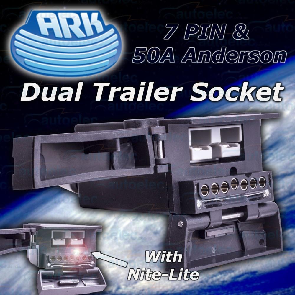 medium resolution of ark dual trailer socket 7 pin flat 50a anderson plug nite lite reed switch