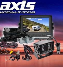 axis car caravan 5 lcd screen dual camera rear view reversing kit js5001ck [ 1500 x 1500 Pixel ]