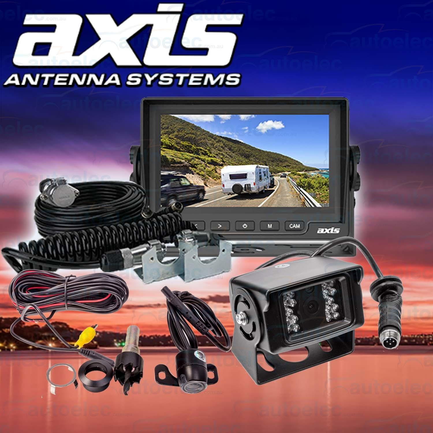 hight resolution of axis car caravan 5 lcd screen dual camera rear view reversing kit js5001ck