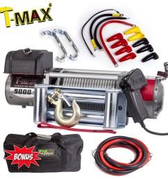 tmax 9000lb 4082kg 12 volt winch recovery wire steel ew 9000 winch wiring [ 1600 x 1600 Pixel ]