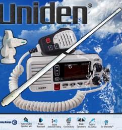 uniden um455 vhf boat marine radio two way waterproof speaker mic gme antenna [ 1500 x 1500 Pixel ]