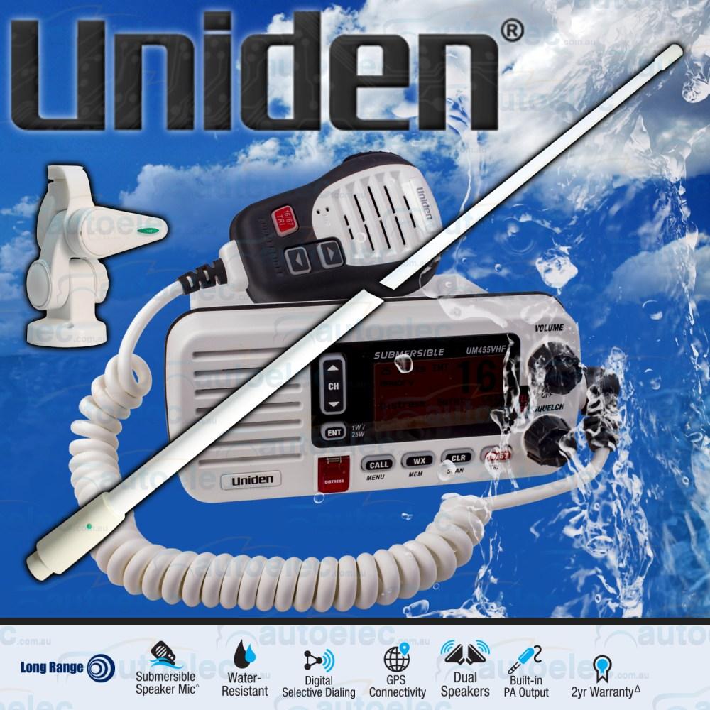 medium resolution of uniden um455 vhf boat marine radio two way waterproof speaker mic gme antenna
