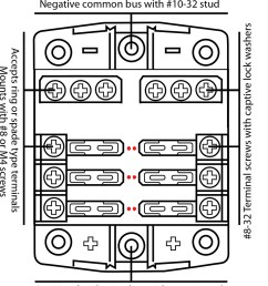 6 fuse outlets 100 amps maximum per fuse block 30 amps maximum per individual fuse provision for holding 2 spare fuses common negative and common positive [ 1000 x 1120 Pixel ]