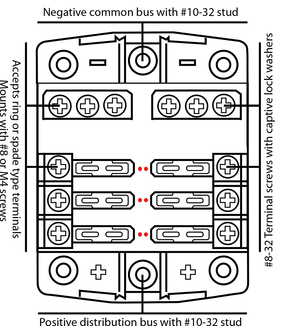 hight resolution of 6 fuse outlets 100 amps maximum per fuse block 30 amps maximum per individual fuse provision for holding 2 spare fuses common negative and common positive